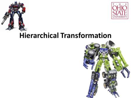 Hierarchical Transformation. Summary Alternatively, OpenGL thinks: A transformation updates the coordinate system. For each change, the transformation.
