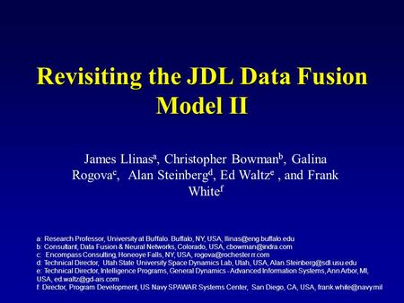 Revisiting the JDL Data Fusion Model II