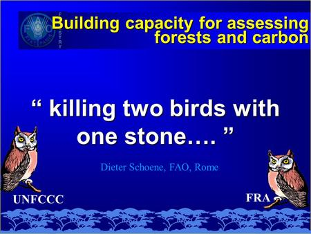 "UNFCCC "" killing two birds with one stone…. "" Building capacity for assessing forests and carbon Dieter Schoene, FAO, Rome FRA."