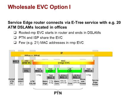 Core Wholesale EVC Option I Service Edge router connects via E-Tree service with e.g. 20 ATM DSLAMs located in offices  Rooted-mp EVC starts in router.