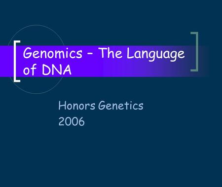 Genomics – The Language of DNA Honors Genetics 2006.