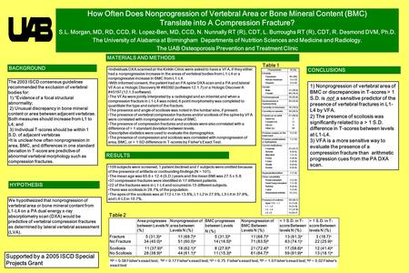 Printed by www.postersession.com How Often Does Nonprogression of Vertebral Area or Bone Mineral Content (BMC) Translate into A Compression Fracture? S.L.