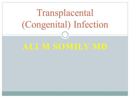 ALI M SOMILY MD Transplacental (Congenital) Infection.