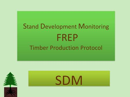 S tand D evelopment M onitoring FREP Timber Production Protocol SDM.