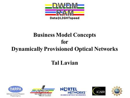 Business Model Concepts for Dynamically Provisioned Optical Networks Tal Lavian DWDM RAM DWDM RAM Defense Advanced Research Projects Agency.