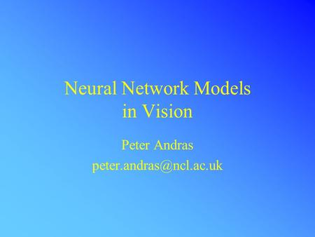 Neural Network Models in Vision Peter Andras