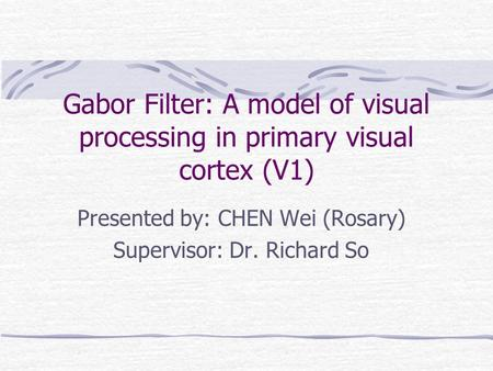 Gabor Filter: A model of visual processing in primary visual cortex (V1) Presented by: CHEN Wei (Rosary) Supervisor: Dr. Richard So.