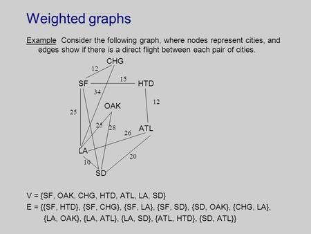 Weighted graphs Example Consider the following graph, where nodes represent cities, and edges show if there is a direct flight between each pair of cities.