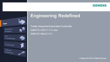 © Siemens AG 2010. All Rights Reserved. Engineering Redefined Totally Integrated Automation Portal with SIMATIC STEP 7 V11 and SIMATIC WinCC V11.