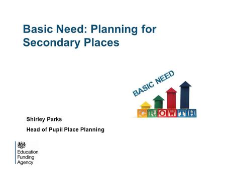 Basic Need: Planning for Secondary Places Shirley Parks Head of Pupil Place Planning.