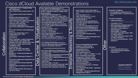 © 2013-2014 Cisco and/or its affiliates. All rights reserved. 1 Cisco dCloud Available Demonstrations Data Center & Virtualization Enterprise Networking.