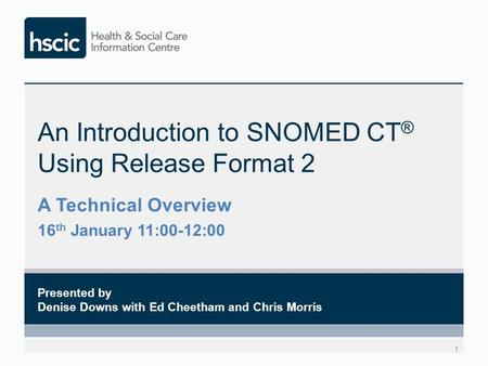 An Introduction to SNOMED CT ® Using Release Format 2 1 Presented by Denise Downs with Ed Cheetham and Chris Morris A Technical Overview 16 th January.