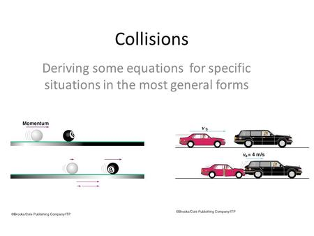 Collisions Deriving some equations for specific situations in the most general forms.