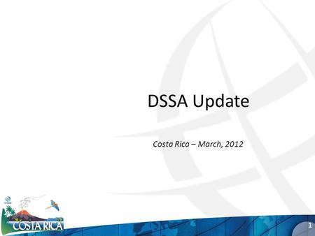 DSSA Update Costa Rica – March, 2012 1. Goals for today Update you on our progress Raise awareness Solicit your input 2.