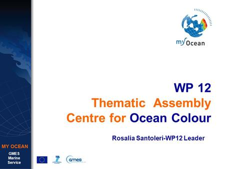 GMES Marine Service MY OCEAN WP 12 Thematic Assembly Centre for Ocean Colour Rosalia Santoleri-WP12 Leader.
