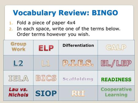 Vocabulary Review: BINGO 1. Fold a piece of paper 4x4 2. In each space, write one of the terms below. Order terms however you wish. Differentiation SIOP.