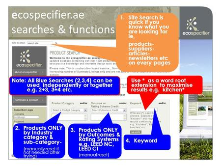 Ecospecifier.ae searches & functions Ecospecifier © 2008 2.Products ONLY by Industry category & sub-category- (manually reset if not needed after trying)