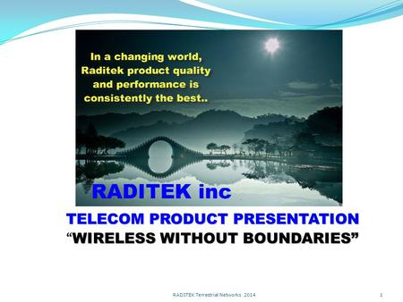 "TELECOM PRODUCT PRESENTATION ""WIRELESS WITHOUT BOUNDARIES"" RADITEK Terrestrial Networks 2014 1."