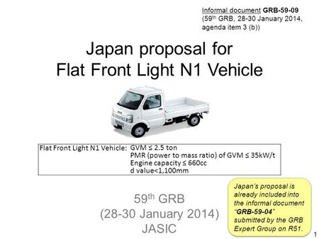 59 th GRB (28-30 January 2014) JASIC Japan proposal for Flat Front Light N1 Vehicle 1 Flat Front Light N1 Vehicle: GVM ≤ 2.5 ton PMR (power to mass ratio)