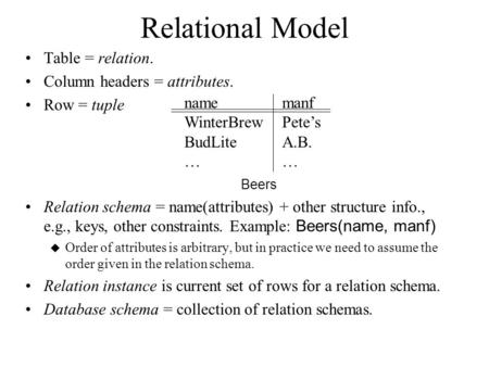 Relational Model Table = relation. Column headers = attributes. Row = tuple Beers Relation schema = name(attributes) + other structure info., e.g., keys,