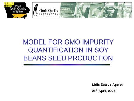 MODEL FOR GMO IMPURITY QUANTIFICATION IN SOY BEANS SEED PRODUCTION Lidia Esteve-Agelet 25 th April, 2005.