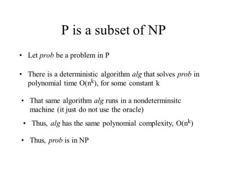 P is a subset of NP Let prob be a problem in P There is a deterministic algorithm alg that solves prob in polynomial time O(n k ), for some constant k.