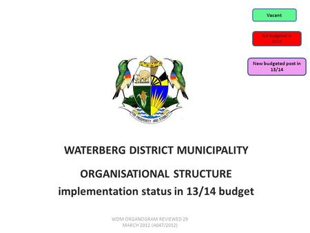 WATERBERG DISTRICT MUNICIPALITY ORGANISATIONAL STRUCTURE implementation status in 13/14 budget WDM ORGANOGRAM REVIEWED 29 MARCH 2012 (A047/2012) Vacant.