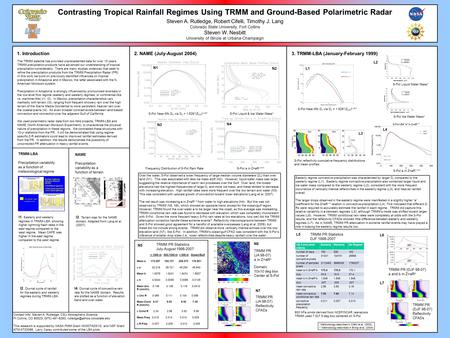 Contrasting Tropical Rainfall Regimes Using TRMM and Ground-Based Polarimetric Radar Steven A. Rutledge, Robert Cifelli, Timothy J. Lang Colorado State.