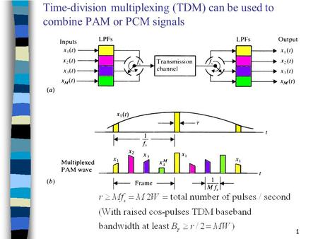 1 Time-division multiplexing (TDM) can be used to combine PAM or PCM signals.