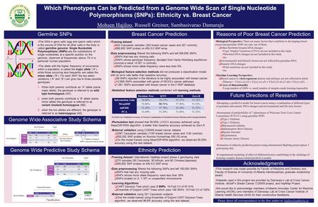 Which Phenotypes Can be Predicted from a Genome Wide Scan of Single Nucleotide Polymorphisms (SNPs): Ethnicity vs. Breast Cancer Mohsen Hajiloo, Russell.