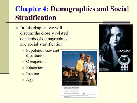 Chapter 4: Demographics and Social Stratification In this chapter, we will discuss the closely related concepts of demographics and social stratification: