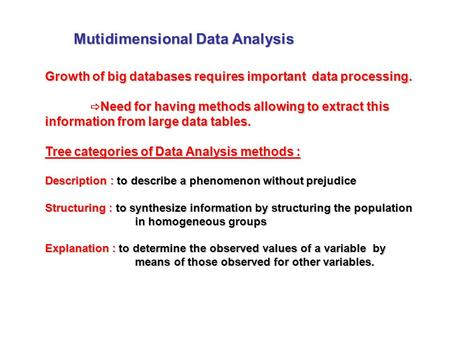 Mutidimensional Data Analysis Growth of big databases requires important data processing.  Need for having methods allowing to extract this information.
