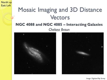Mosaic Imaging and 3D Distance Vectors NGC 4088 and NGC 4085 – Interacting Galaxies Chelsea Braun Image: Digitized Sky Survey North: up East: Left.