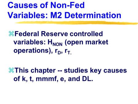 Causes of Non-Fed Variables: M2 Determination zFederal Reserve controlled variables: H NON (open market operations), r D, r T. zThis chapter -- studies.