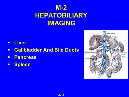 M-2 HEPATOBILIARY IMAGING  Liver  Gallbladder And Bile Ducts  Pancreas  Spleen 2013.