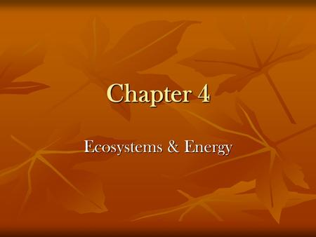 Chapter 4 <strong>Ecosystems</strong> & Energy.