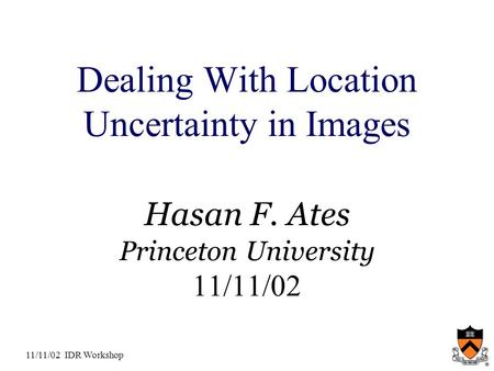 11/11/02 IDR Workshop Dealing With Location Uncertainty in Images Hasan F. Ates Princeton University 11/11/02.