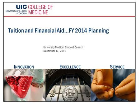 Tuition and Financial Aid…FY 2014 Planning University Medical Student Council November 17, 2012 E XCELLENCE I NNOVATION S ERVICE 1.