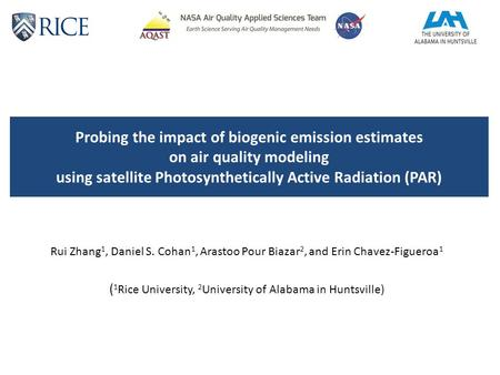 Probing the impact of biogenic emission estimates on air quality modeling using satellite Photosynthetically Active Radiation (PAR) Rui Zhang 1, Daniel.