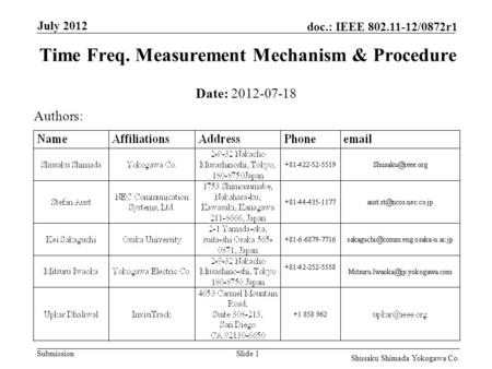 Submission doc.: IEEE 802.11-12/0872r1 July 2012 Shusaku Shimada Yokogawa Co. Slide 1 Time Freq. Measurement Mechanism & Procedure Date: 2012-07-18 Authors: