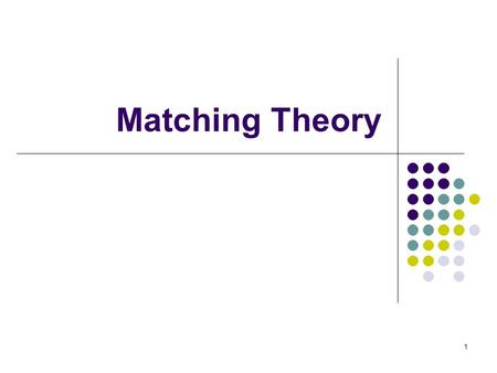 Matching Theory 1. Two-Sided Matching Statement of the problem Two sides of the market to be matched. Participants on both sides care about to whom they.