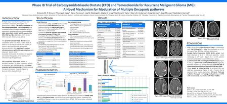 Phase IB Trial of Carboxyamidotriazole Orotate (CTO) and Temozolomide for Recurrent Malignant Glioma (MG): A Novel Mechanism for Modulation of Multiple.