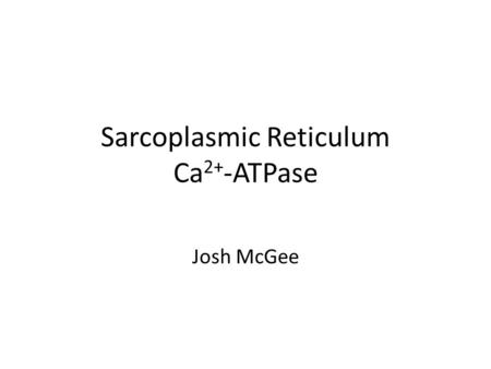 Sarcoplasmic Reticulum Ca 2+ -ATPase Josh McGee. Introduction Ca2+-ATPase is grouped into a large family of ATP dependent ion pumps known as P-type ATPases.