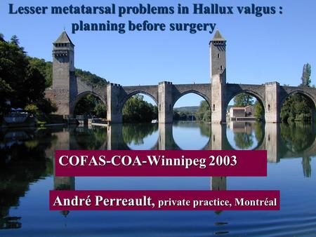 1 Lesser metatarsal problems in Hallux valgus : planning before surgery planning before surgery COFAS-COA-Winnipeg 2003 André Perreault, private practice,