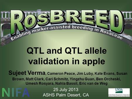 QTL and QTL allele validation in apple Sujeet Verma, Cameron Peace, Jim Luby, Kate Evans, Susan Brown, Matt Clark, Cari Schmitz, Yingzhu Guan, Ben Orcheski,