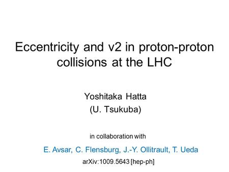 Eccentricity and v2 in proton-proton collisions at the LHC
