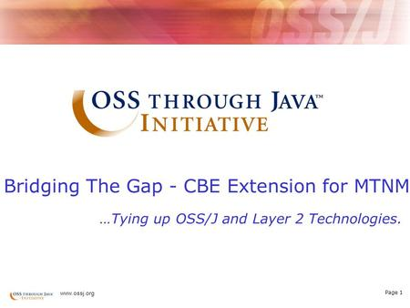 Page 1 www.ossj.org Bridging The Gap - CBE Extension for MTNM …Tying up OSS/J and Layer 2 Technologies.