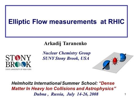 "R. Lacey, SUNY Stony Brook 1 Arkadij Taranenko Helmholtz International Summer School: ""Dense Matter In Heavy Ion Collisions and Astrophysics"" Dubna, Russia,"