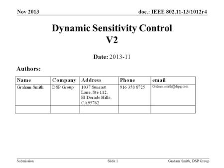 Doc.: IEEE 802.11-13/1012r4 Submission Nov 2013 Dynamic Sensitivity Control V2 Date: 2013-11 Authors: Graham Smith, DSP GroupSlide 1.
