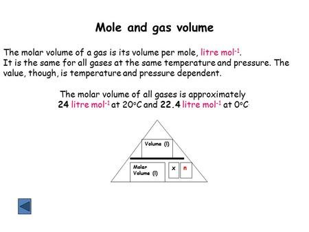 Mole and gas volume The molar volume of a gas is its volume per mole, litre mol -1. It is the same for all gases at the same temperature and pressure.